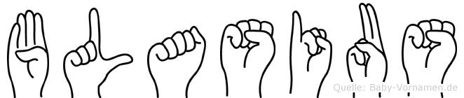 Blasius im Fingeralphabet der Deutschen Gebärdensprache