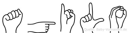 Agilo im Fingeralphabet der Deutschen Gebärdensprache