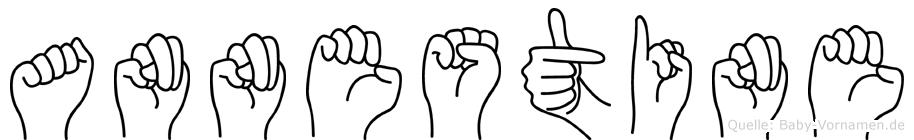 Annestine im Fingeralphabet der Deutschen Gebärdensprache