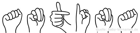 Antina im Fingeralphabet der Deutschen Gebärdensprache