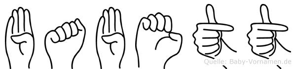 Babett im Fingeralphabet der Deutschen Gebärdensprache