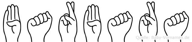 Barbara im Fingeralphabet der Deutschen Gebärdensprache