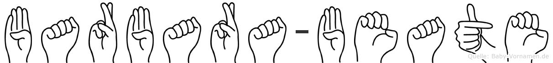 Barbara-Beate im Fingeralphabet der Deutschen Gebärdensprache
