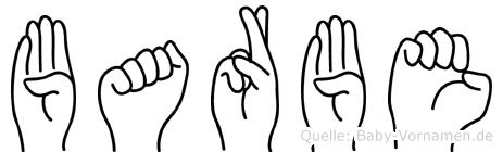 Barbe im Fingeralphabet der Deutschen Gebärdensprache