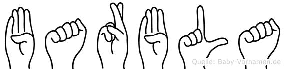 Barbla im Fingeralphabet der Deutschen Gebärdensprache