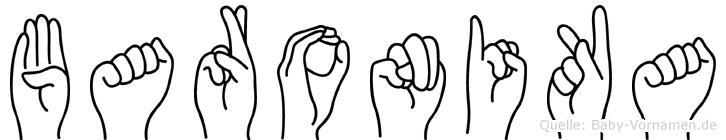 Baronika im Fingeralphabet der Deutschen Gebärdensprache