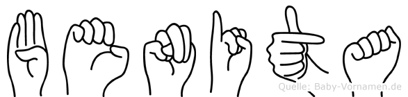 Benita im Fingeralphabet der Deutschen Gebärdensprache