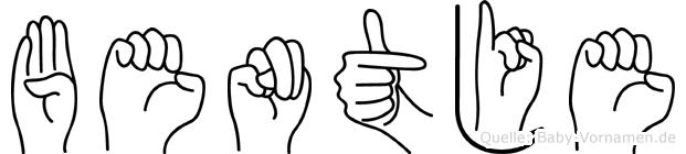 Bentje im Fingeralphabet der Deutschen Gebärdensprache