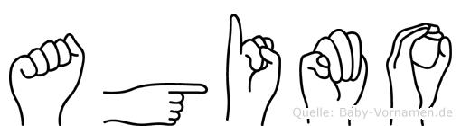 Agimo im Fingeralphabet der Deutschen Gebärdensprache