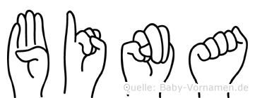 Bina im Fingeralphabet der Deutschen Gebärdensprache