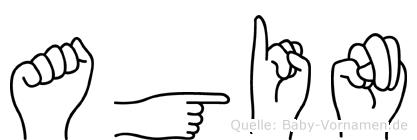 Agin im Fingeralphabet der Deutschen Gebärdensprache