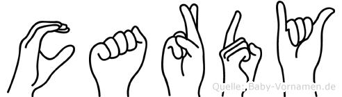 Cardy im Fingeralphabet der Deutschen Gebärdensprache