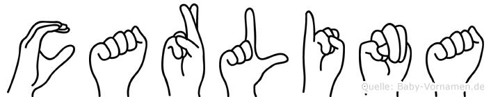 Carlina im Fingeralphabet der Deutschen Gebärdensprache