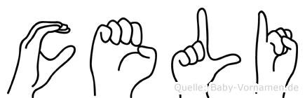 Celi im Fingeralphabet der Deutschen Gebärdensprache