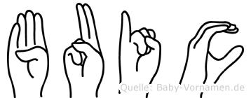 Buic im Fingeralphabet der Deutschen Gebärdensprache