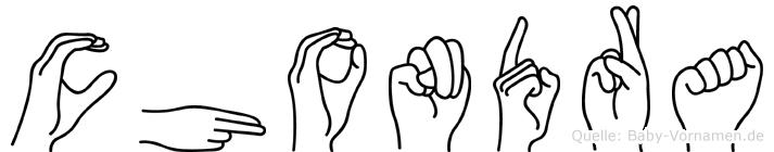 Chondra im Fingeralphabet der Deutschen Gebärdensprache