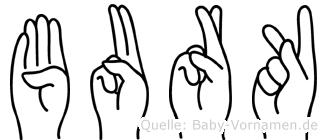 Burk im Fingeralphabet der Deutschen Gebärdensprache