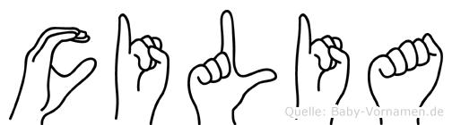Cilia im Fingeralphabet der Deutschen Gebärdensprache