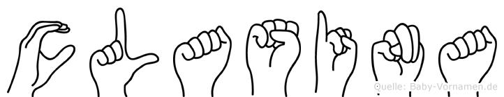 Clasina im Fingeralphabet der Deutschen Gebärdensprache