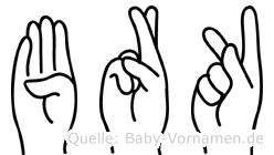 Bürk im Fingeralphabet der Deutschen Gebärdensprache