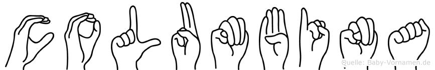 Columbina im Fingeralphabet der Deutschen Gebärdensprache