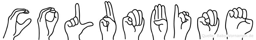 Columbine im Fingeralphabet der Deutschen Gebärdensprache