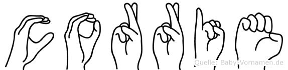 Corrie im Fingeralphabet der Deutschen Gebärdensprache