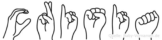 Crisia im Fingeralphabet der Deutschen Gebärdensprache