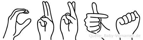 Curta im Fingeralphabet der Deutschen Gebärdensprache