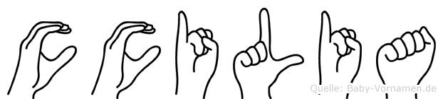 Cäcilia in Fingersprache für Gehörlose