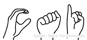 Cai im Fingeralphabet der Deutschen Gebärdensprache