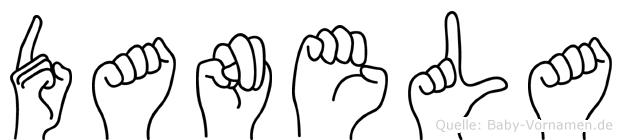 Danela im Fingeralphabet der Deutschen Gebärdensprache