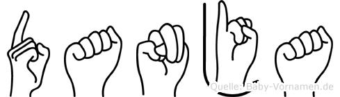 Danja im Fingeralphabet der Deutschen Gebärdensprache