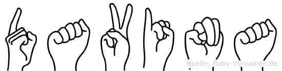 Davina im Fingeralphabet der Deutschen Gebärdensprache
