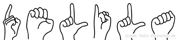 Delila im Fingeralphabet der Deutschen Gebärdensprache