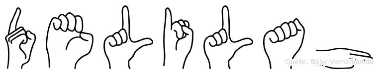 Delilah im Fingeralphabet der Deutschen Gebärdensprache