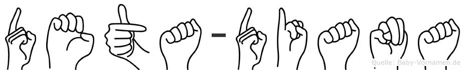 Deta-Diana im Fingeralphabet der Deutschen Gebärdensprache