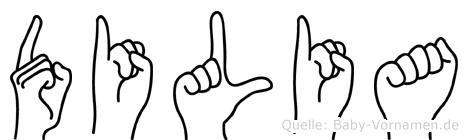 Dilia im Fingeralphabet der Deutschen Gebärdensprache