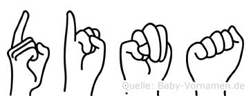 Dina im Fingeralphabet der Deutschen Gebärdensprache