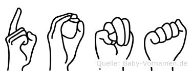 Dona im Fingeralphabet der Deutschen Gebärdensprache