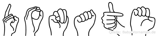 Donate im Fingeralphabet der Deutschen Gebärdensprache