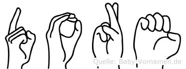 Dore im Fingeralphabet der Deutschen Gebärdensprache