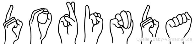 Dorinda im Fingeralphabet der Deutschen Gebärdensprache