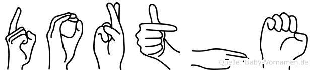 Dorthe im Fingeralphabet der Deutschen Gebärdensprache