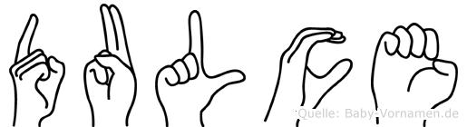 Dulce im Fingeralphabet der Deutschen Gebärdensprache