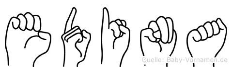 Edina im Fingeralphabet der Deutschen Gebärdensprache