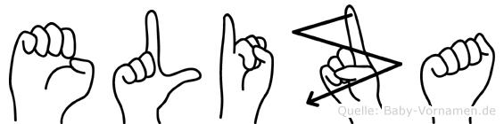 Eliza im Fingeralphabet der Deutschen Gebärdensprache