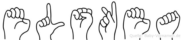 Elskea im Fingeralphabet der Deutschen Gebärdensprache