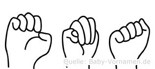 Ema im Fingeralphabet der Deutschen Gebärdensprache