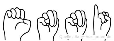 Enni im Fingeralphabet der Deutschen Gebärdensprache